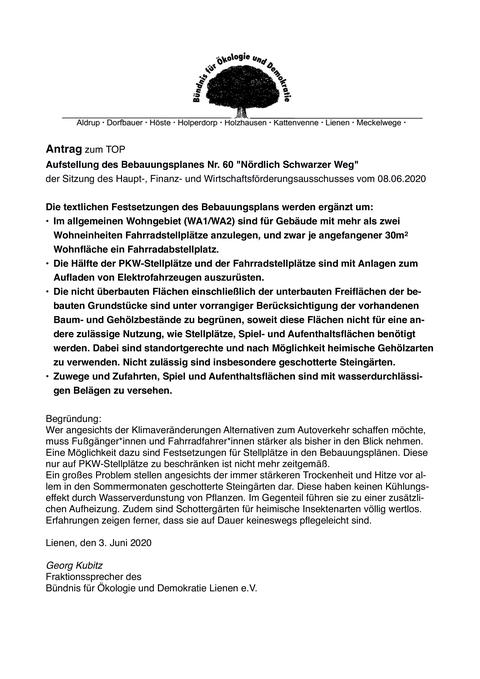 Antrag Bebauungsplan nördlich Schwarzer Weg