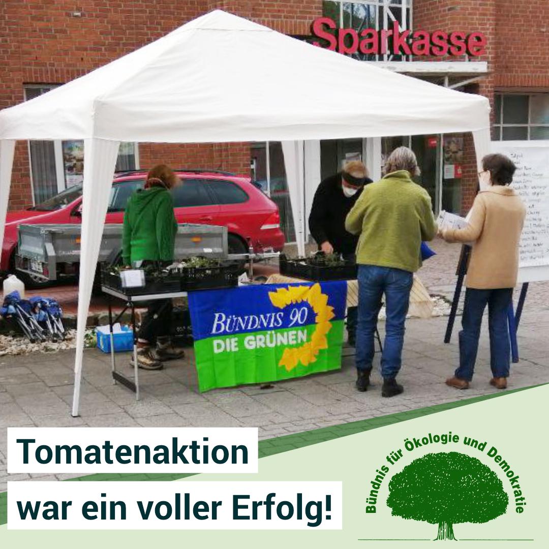 Erfolgreiche Tomatenaktion des Bündnis 90/Die Grünen